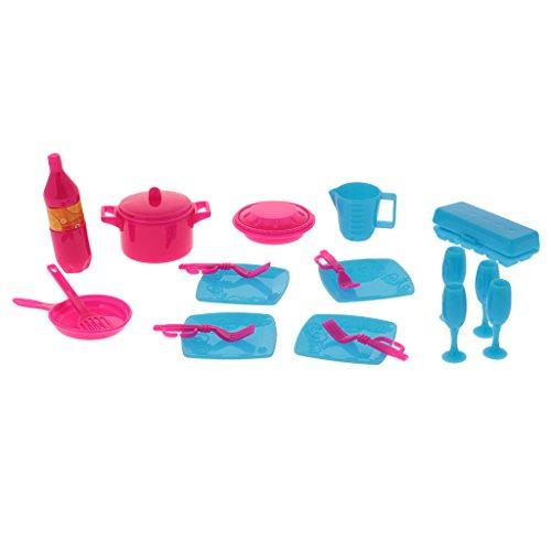 MagiDeal 18 PCS Puppenhaus Puppenstube Geschirr - 1:12 Scale Mini Teller Tasse Gericht Tool