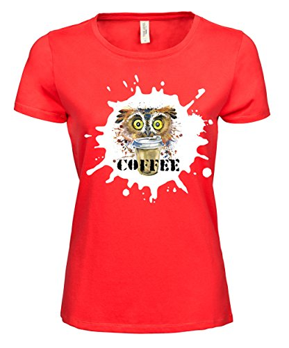 makato Damen T-Shirt Luxury Tee Kaffee Eule Coral