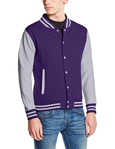 Just Hoods by AWDis Herren Jacke Varsity Jacket, Multicoloured (Purple Heather Grey), XS