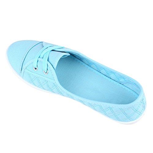 Klassische Damen Ballerinas | Sportliche Stoffschuhe | Slipper Flats | Sneakers Slip-ons | viele Farben Hellblau Stepp