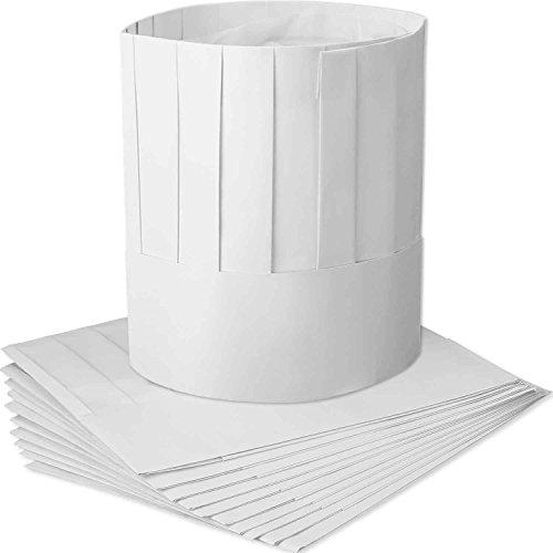 Einweg 9 Zoll Papier Chef Tall Hat Set einstellbare Küche Kochen Kochmütze für Lebensmittel Restaurants, Home Kitchen, Schule, Klassen, Catering Equipment oder Geburtstagsparty ()