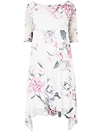 059dfa1a322 Yours Women's Plus Size London White & Floral Midi Dress with Cowl Neck