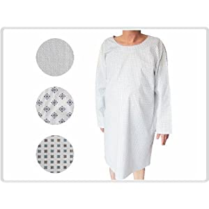 Krankenhemd, Pflegehemd, Nachthemd, Patientenhemd, Flügelhemd fuer Erwachsene, bunt