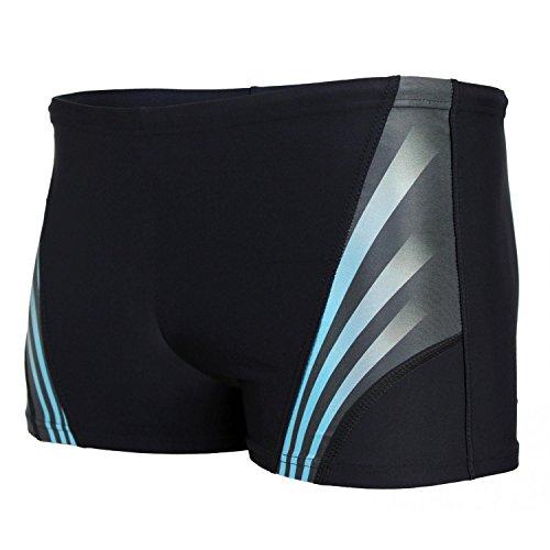 Aquarti Herren Kurze Badehose mit Streifen, Farbe: Schwarz/Blau, Größe: L (Taille ca. 92 cm)