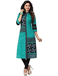 Ishin Cotton Green & Black Printed Women's Calf Lenght Kurta