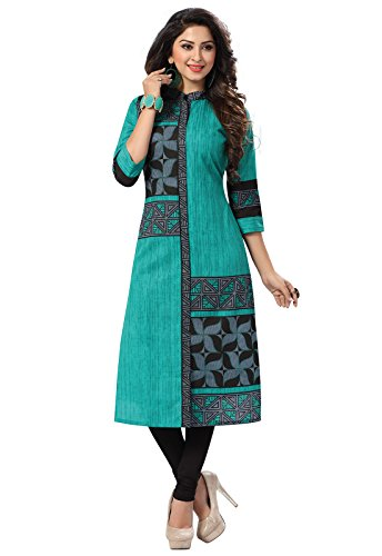 Ishin Pure Cambric Cotton Green Printed Party Wear Wedding Wear Casual Daily Wear Office Wear Festive Wear Bollywood New Collection Latest Design Trendy Women\'s Unstitched Kurti/Kurta Fabric