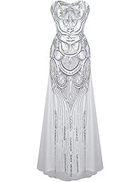 Ghope Femmes 1920s Noir Paillette Gatsby Longueur de Plancher Soirée Robe De Bal