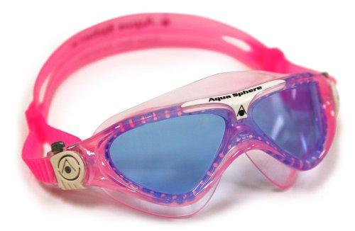 Aqua Sphere MS174122 Schwimmbrille Vista Kinder Taucherbrille Blaue Gläser,Rosa/Weiß