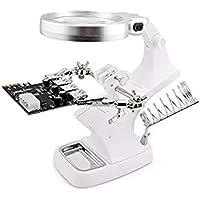 Magnifying Glasses JFW-3X 4.5X Lupas 10 LED Lámpara Lupa Clip Escritorio Soldadura Lupa para Reparación Soldadura.