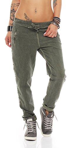 IKONA21 - Pantalon de sport - Femme vert kaki taille unique Mehrfarbig khaki grün Seitenband silber