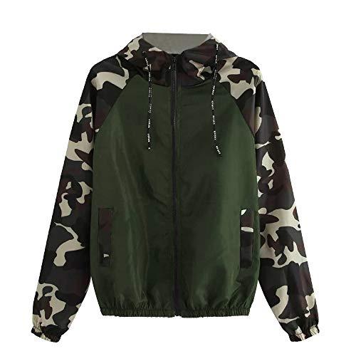 Soupliebe Damen Langarm Camouflage Patchwork O Hals Sweatshirt Mit Kapuze Mantel Bluse Jacken Mäntel Sweatjacke Winterjacke Fleecejacke Steppjacke