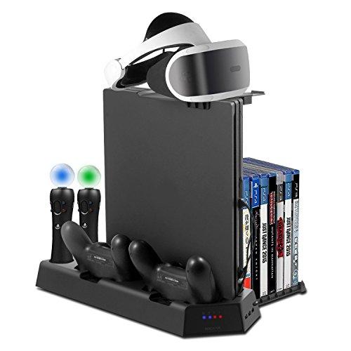 PlayStation Vertikaler Standfuß - ElecGear PSVR Headset vertikal Ständer, 3x USB Hub, Lüfter Kühler, ladestation ladegerät Stand, 14 Spiele Halter für DualShock, Move Motion Controller, PS4, Pro, Slim