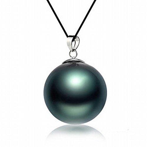 Schmuckwilly Muschelkernperlen Perlen Anhänger Damen Tahiti Südsee Muschelkernperlen Perlenanhänger dunkel grün schwarz dma6001-w (20mm) - Perlen-anhänger
