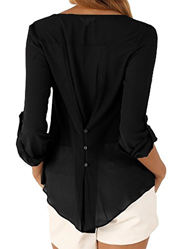 BienBien Buse e Camicie Eleganti Camicetta Chiffon Donna Manica Lunga con Scollo V T Shirt Estiva Nero