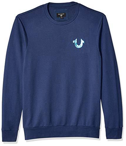 True Religion Herren Buddha IN Water Crewneck T-Shirt, Ace Blue, Klein -