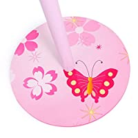 Homestyle4u Childrens Clothe Coat Hat Wood Stand with Butterfly Design, Pink, One Size
