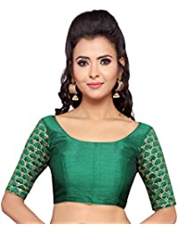 275a1b4a2693a STUDIO SHRINGAAR WOMEN S GREEN POLY RAW SILK EMBROIDERED SAREE BLOUSE