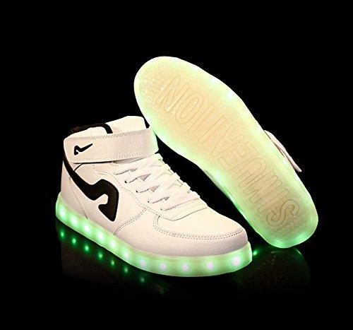 Dayiss 7 Farbe USB Aufladen LED Leuchtend Sportschuhe Hohe Sneaker Turnschuhe für Unisex-Erwachsene Herren Damen Weiß-Schwarz