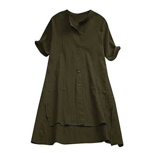 Lazzboy Donna Tunic Lagenlook Tinta Unita Manica Corta Camicia Plus Size Button Dress Long Blouse Oversize(46,Verde-Button)