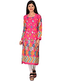 Nakoda Creation 3/4 Sleeve Printed Round Neck Rayon Kurti For Women,Multicolor