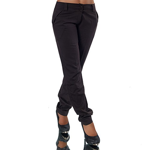 H325 Damen Business Hosen Stoffhose Bootcut Elegante Hose Classic Gerades Bein, Farben:Braun;Größen:40 L (Etikett T4)