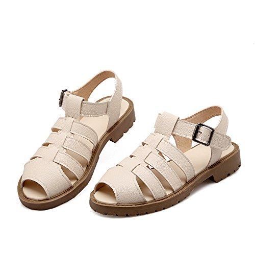 Dos Macio Fivela Puro Sapatos Senhoras Peixes Sandálias Menores Creme Cabeça Material Allhqfashion Salto p6w5Cqx8R