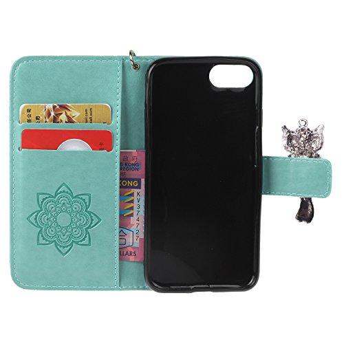 PU iPhone 7 Coque Bookstyle Hibou Étui Fleur Housse en Cuir Case à rabat pour Apple iPhone 7 (4.7 pouces) Coque de protection Portefeuille PU Case Cover (+Bouchons de poussière) (9) 3