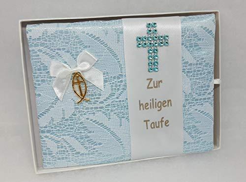 Taufbrief Junge Patty blau mit Fisch und Kreuz, Taufe Geschenk Bub handmade (Fisch Patty)