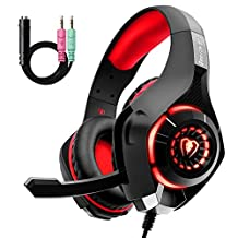 Beexcellent GM-1RED LED Spelheadset, Svart/Röd