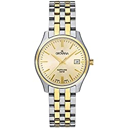 GROVANA 5568.1141 Women's Quartz Swiss Watch with Gold Dial Analogue Display and Two-Tone Stainless Steel Bracelet