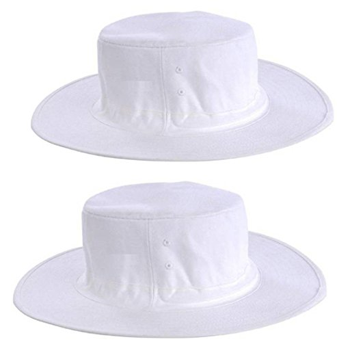 CIPS Cricket Umpire Sun Hat Combo Pack of 2 pc 100% Cotton Cap for Cricket Sports, Tournament (2 PC) White