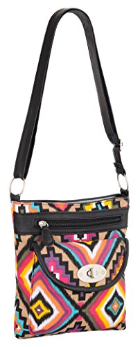 EyeCatch - Florida Floral Cross Body Canvas Schultertasche Azteke Hell