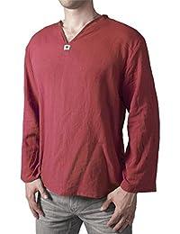 Lofbaz Camiseta de cuello en V 100% de algodón Tailandesa Hippie Playa ...