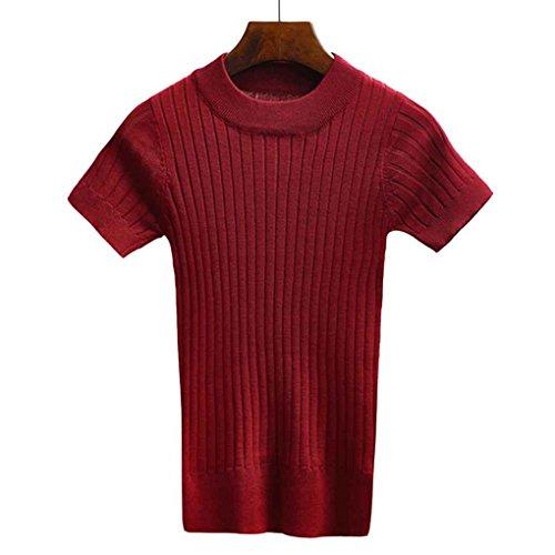 Masterein Frauen Pullover Tank Top Stricken T-shirt Kurzarm Crop Tops Engen Bustier Frauen Winter Jumper