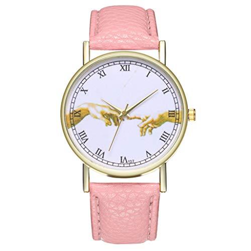 Uhren Fashion Cute Candy Farbe Damen Armbanduhr Kleid Uhr PU Rosa 2220 42068