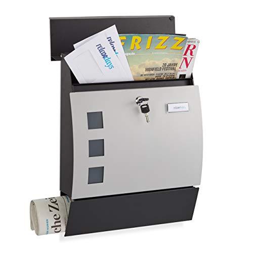 Relaxdays cassetta postale con serratura e porta-giornali, forma bombata, moderna, nero/argento, 45x35x10,5 cm