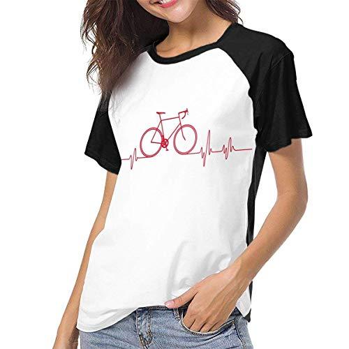Bagew Damen T-Shirt Mit Rundhalsausschnitt, Mountain Bike Heartbeat Women\'s Baseball Tee Short Sleeve Round Neck Casual Tops