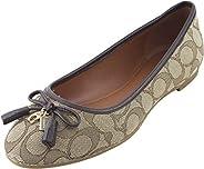 Coach Women's Bennie Signature Jacqueline Ballet Flat Shoes 9 B US Women in Khaki/Ruby Osh, Style FG