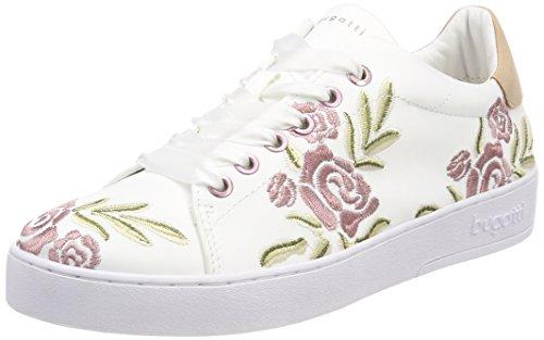 Bugatti Damen 421291056959 Sneaker, Weiß (White/Multicolour), 40 EU (Sneaker Mit Blumen, Frauen)