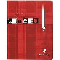 Clairefontaine 3785C - Un cahier piqué de papier dessin blanc 32 pages 17x22 cm 125g quadrillé 10x10, couverture carte pelliculée, Rouge