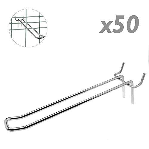 Tolsen - Crochet métallique Chrome Compatible slatwall du 200mm Double Tige Pack de 50 unités