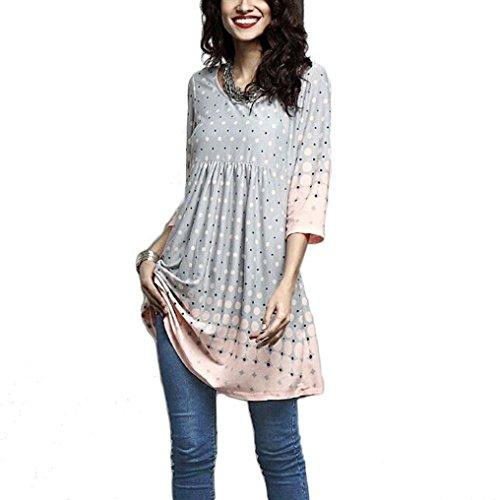 BHYDRY Frauen-Damen-Dreiviertelhülse, die beiläufige Oberseiten-T-Shirt Lose Spitzenbluse Druckt(XL,Grau)