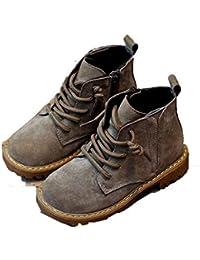 Niños Martin Botas otoño e Invierno cómodo Cuero más Terciopelo Zapatos de algodón cálido niños y niñas Lateral Cremallera Antideslizante Zapatos Planos Resistentes al Desgaste bebé Zapatos de niño