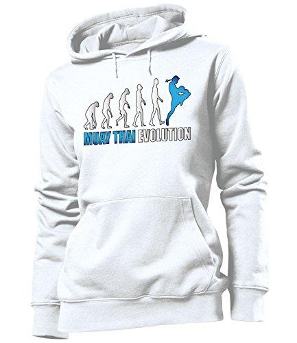 MUAY THAI EVOLUTION - HOODIE Donna Felpa con cappuccio Taglia S to XXL vari colori Blanc / Blue