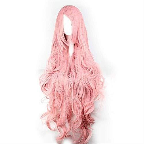 Mhsm Perücke Haar Rosa Perücken Air Volume High Temperature Soft Silk Bulk Hair Long Curly Big Wave Hair Synthetic Wig Cosplay Body80 Straight100Cm Rot-Braun -