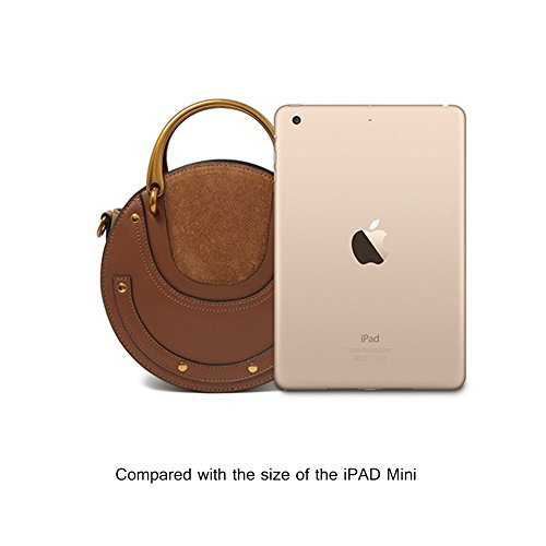 Yoome elegante rivetto borsa borse borsa anello circolare borsa maniglia borse vere borse a tracolla vacchetta per le donne - nero Marrone