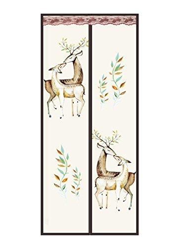 Fliegengitter Magnetvorhang für Türen Insektenschutz Magnet Fliegenvorhang Moskitonetz, Klebmontage ohne Bohren, Vorhang für Balkontür Wohnzimmer Schiebetür Terrassentür (90 x 210cm-Hirsch)