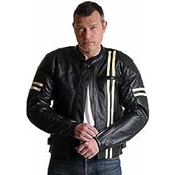 Utah Flats Cafe Racer Retro chaqueta de piel de moto/motocicleta–Embossed Logo & CE Armour