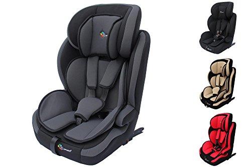 Clamaro 'Guardian Isofix 2018' Kinderautositz 9-36 kg mit ISOFIX, Kopfstütze verstellbar mitwachsend, Auto Kindersitz für Kinder von 1-12 Jahre, Gruppe 1/2/3, ECE R44/04, Farbe: Grau Schwarz