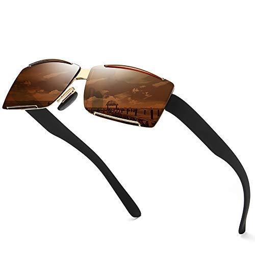 BAIYI Herren Polarized Classic Frameless Square Sonnenbrille New Herren Driving Sonnenbrille Internal Blue Film